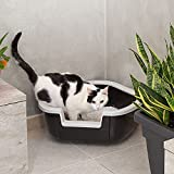 Ferplast Katzentoilette Dama für Raumecken – Robuste Katzentoilette mit hohem, abnehmbarem Rand für eine hygienische Reinigung – Farbe: Schwarz – Maße: 57,5 x 51,5 x 22 cm - 4