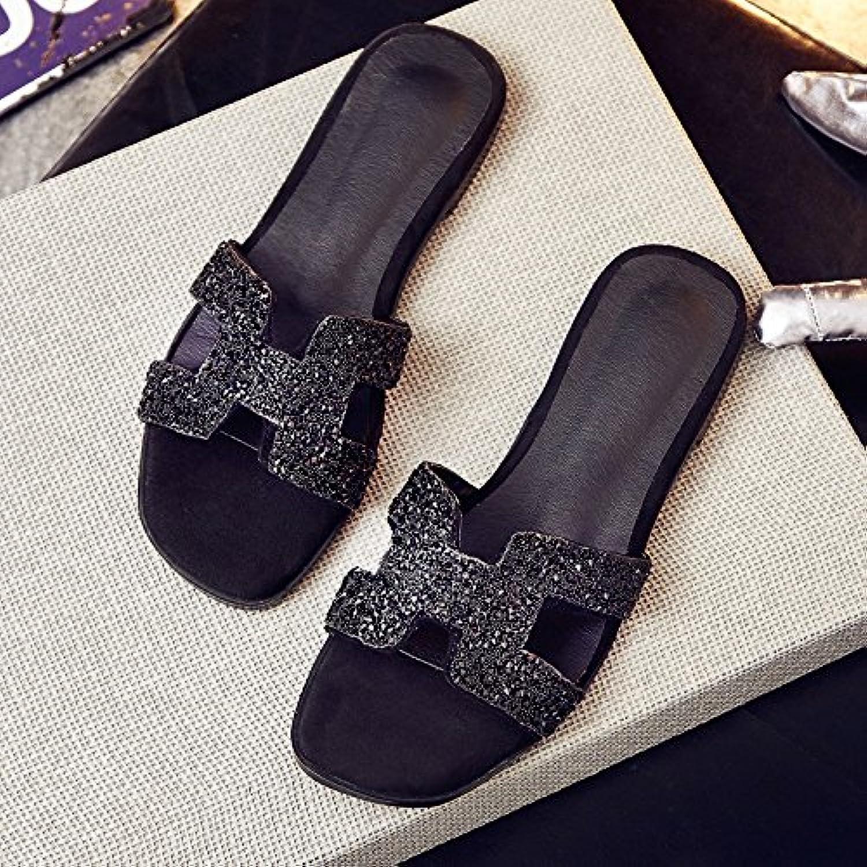 AJUNR Sandali Sandali Sandali Da Donna Alla Moda Elegante piatta con il piatto il trapano acqua nero pantofole 39 | Abbiamo ricevuto lodi dai nostri clienti.  9907be