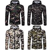 Veste Vêtements de Protection Solaire Hommes Militaire Camouflage Zipper Imprimer, QinMM Été T-shirt Chemisier À Capuche Respirant Blouson Softshell (Vert d'armée, Medium)