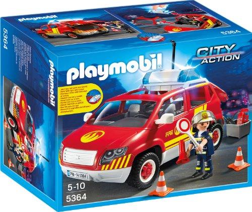 feuerwehr playmobil 5362 PLAYMOBIL 5364 - Brandmeisterfahrzeug mit Licht und Sound