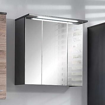 Badezimmer Spiegelschrank in Anthrazit LED Beleuchtung Breite 60 ...