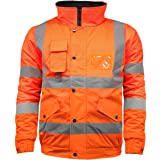 High Visibility Safety Security Reflective Protective Waterproof Workwear Bomber Jacket Fluorescent