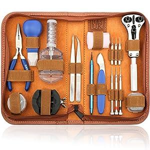 H&S Uhrenwerkzeug Set 147tlg Uhrmacherwerkzeug Uhr Werkzeug Tasche Reparatur Set Uhrwerkzeug Gehäuse Öffner
