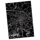 Mr. & Mrs. Panda Postkarte Stadt Leipzig Stadt Black - Stadt Dorf Karte Landkarte Map Stadtplan Postkarte, Postkarten, Einladungskarte, Geschenkkarte, Brief, Spruch des Tages, Kärtchen, Geschenk, Karte, Papier, Einladung, Fan, Fanartikel, Souvenir, Andenken, Fanclub, Stadt, Mitbringsel