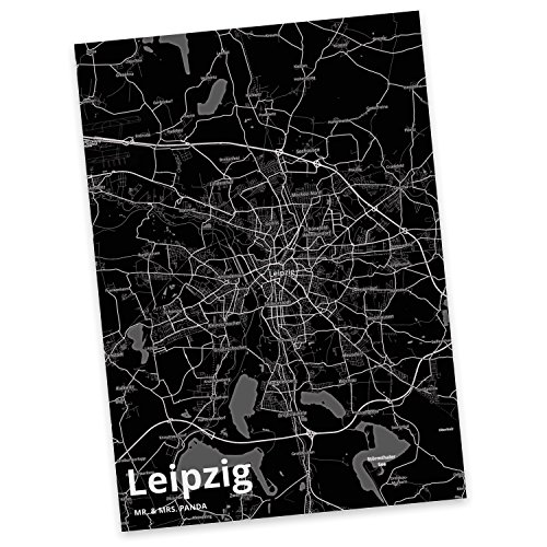 Mr. & Mrs. Panda Postkarte Stadt Leipzig Stadt Black - Stadt Dorf Karte Landkarte Map Stadtplan Ansichtskarte, Einladung