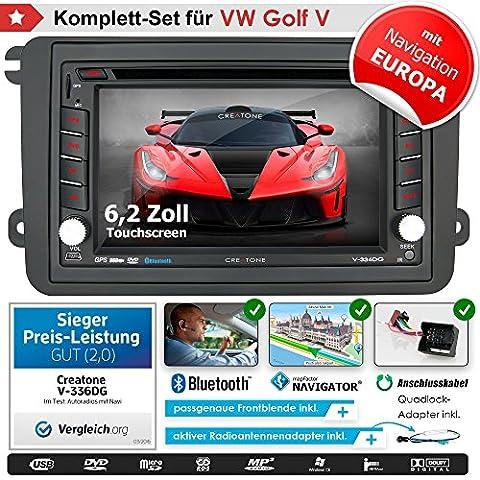 Autoradio 2DIN creatone 336dg en V pour VW Golf 5(2003–2009) avec GPS Navigation (Europe), Bluetooth, écran tactile, lecteur DVD et fonction
