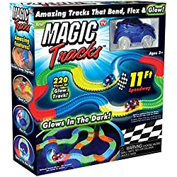 Magic Tracks Bend, Flex and Glow Racetrack with 11-Feet 220-Piece Glow In the Dark Track and 1 Race Car by Ontel