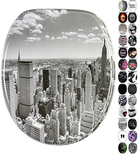 Sedile wc con chiusura ammortizzata, grande scelta di sedili wc neri da legno robusto e di alta qualità (skyline new york)