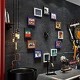 LongYu Pared de la Foto Relojes Grandes portafolio Marcos de Cuadros Juegos de Pared Marco Decorativo Pared de Fotos de Dibujos Animados 7 Pulgadas (Color : HU Black and White Blue)