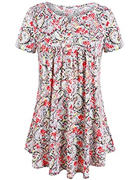 Anna Smith Camisetas de Túnica Plisada Estampadas Florales con Cuello EN V de Manga Corta Para Mujer de