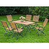 Schlossgarten Gartenmöbel Sitzgruppe MECINA-29 Eukalyptus geölt, Flachtstahl graphit, 6 Sessel mit hoher Lehne, 120x80cm Klapptisch