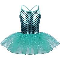 Kaerm Kids Girls Sequins Mermaid Ballet Dance Leotard Tutu Dresses Stage Performance Dancewear