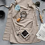 YWWHLM Retro Washed Cotton Aprons For Woman Man Kitchen Cooking Cafe Shop Waiters Gift Apron Indolent Style Bibs Dark Gray/Creamy,Creamy