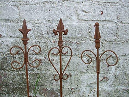 3 Stück dekorative Rankstäbe, Rankhilfe, verzierte Spitze, Eisen, Rost (Eisen Und Rost)