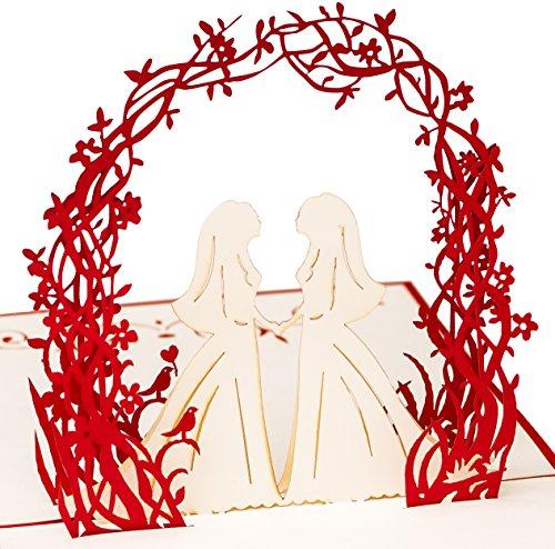 3D Hochzeitskarte Brautpaar 2 Frauen 3D Pop up, handgefertigt, Ehe für alle, lesbisch, homosexuell, Liebespaar, Liebe, Gay Wedding, Valentinstag, Valentinstagskarte, Hochzeitseinladung