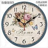FortuneVin Wanduhr Bad Wanduhr mit Wanduhren lautlosem Uhrwerk Kein nerviges Ticken Retro Großen idyllischen Einfachen Klassischen Gebäude Schautafel 12 in Roses 023