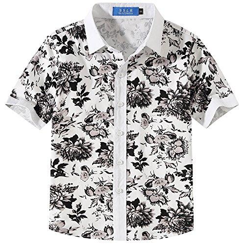 Sslr bambini e ragazzi camicie hawaiana manica corta button down casual tropicale stampa floreale (large (11-13anni), bianco)