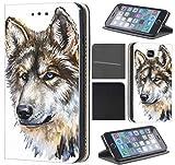 Samsung Galaxy Xcover 3 Hülle von CoverHeld Premium Flipcover Schutzhülle Xcover 3 aus Kunstleder Flip Case Motiv (1458 Wolf Hund Abstract)