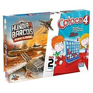 Falomir Coloca 4 + Hundir Barcos (Pack de Juegos de Mesa), multicolor (646389) , color/modelo surtido