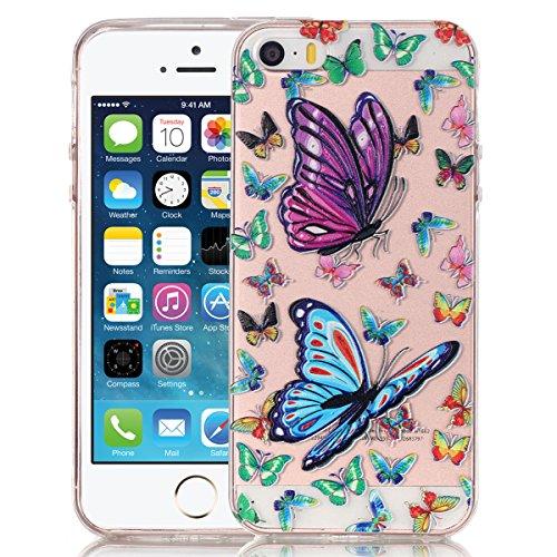 SMARTLEGEND Gel di Silicone Cover per iPhone 5 5S SE, Disegni Sollievo Toccare TPU Morbido Custodia, Ultra Sottile Transparente Flessibile Durevole Case Copertina - Farfalla