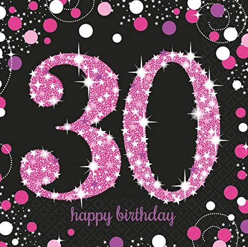 amscan 9900595 16 Servietten 30.Geburtstag Sparkling Celebration, Schwarz/Pink