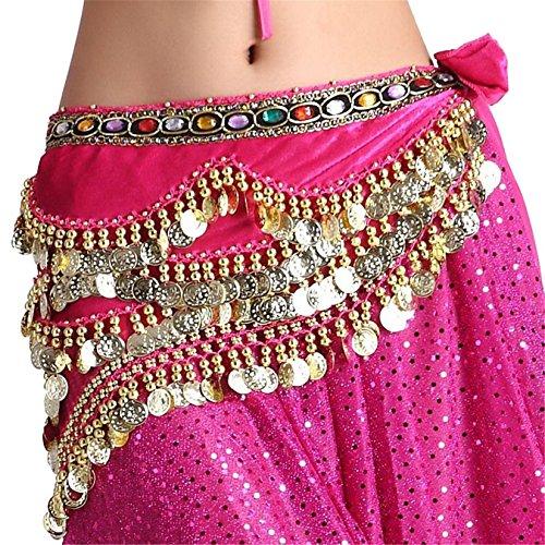 Bauch Tanzen Hip Scarf Skirt Flannel Hip Scarf With Gold Coins Colorful Gem 5 Rows Gold Coins (Tanzen Kostüme Bauch Große Größen)