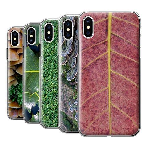 Stuff4 Gel TPU Hülle / Case für Apple iPhone X/10 / Pack 8pcs / Pflanzen/Blätter Kollektion Pack 8pcs