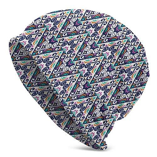 ORANGEW Top Level Beanie Men Women - Colorful Abstract Folk Ornamental Triangles and Swirls Repetitive Illustration Print - Unisex Cuffed Plain Skull Knit Hat Cap