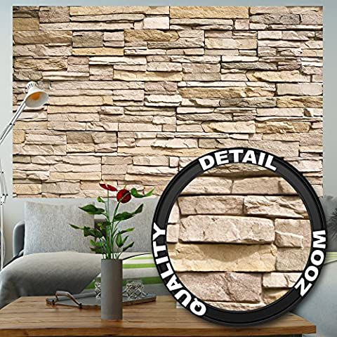 Stonewall photo wallpaper – Asian stonewall light brown mural – stones wall decoration