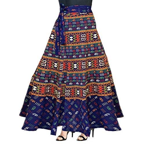 Silver Organisation Women's Cotton Skirt (Sk115,Blue,Free Size)
