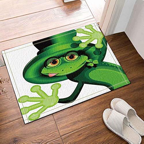 on lustig magischer Hut grün Frosch Bad Teppich Rutschfeste tür Matte Boden Eingang außen innen tür Matte Kinder Bad Matte 50x80cm Bad-Accessoires ()