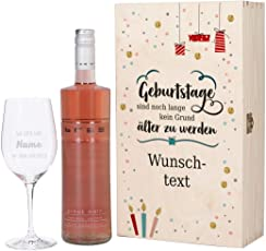 Herz & Heim® Bree Wein-Geschenkset mit graviertem Weinglas und Bree Wein zur Auswahl in Präsentbox zum Geburtstag