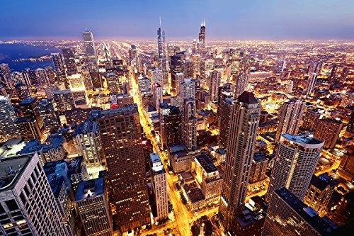 Postereck - Poster 0775 - Skyline Chicago, Amerika USA Wolkenkratzer Stadt Nacht Größe 3:2-91.0 cm x 61.0 cm