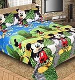 #9: Singhs Villas Decor Cartoon Print Polycotton Single Bedsheet with 1 Pillow Cover