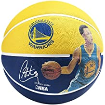 Spalding 3001586010915 Pallone da basket, motivo giocatore NBA Stephen Curry, misura 5 (83-400Z), colore: giallo/blu