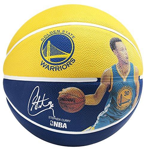 Spalding NBA Player Stephen Curry Sz.5 (83-400Z) Balón de Baloncesto, Amarillo/Azul, 5