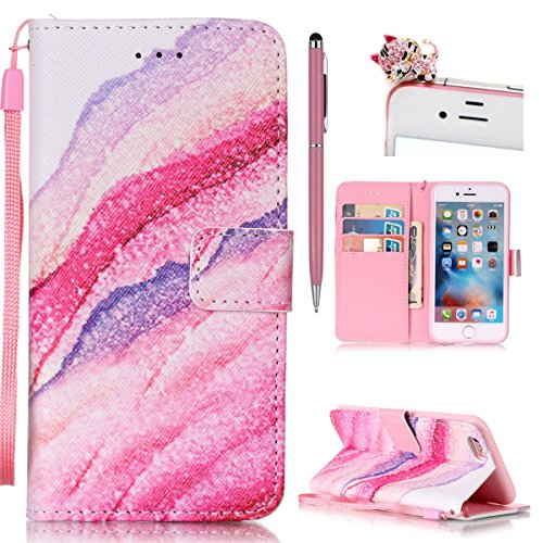 iPhone 6S Plus Hülle,iPhone 6 Plus Case,iPhone 6S Plus Cover - Felfy PU Ledertasche Strap Flip Standfunktion Magnetverschluss Luxe Bookstyle Ledertasche Nette Retro Mode Painted Muster Abdeckung Schut Sandwellen Cas