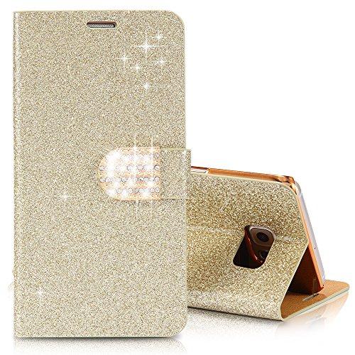 iPhone 4 4s Glitzer Handy Hülle Schutzhülle Tasche Strass Flip Klappbar Wallet Case Cover Brieftasche mit Kartenfach Buch Etui und Standfunktion in Gold Iphone 4 Gold Case