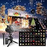 LED Projektor mit 15 dynamische Motiven, Maxcio Led Projektionslampe Weihnachtsbeleuchtung mit Fernbedienung, 2/4/6 Stunden Timer für Halloween Weihnachten Party Hochzeit, Festival Innen und Außen