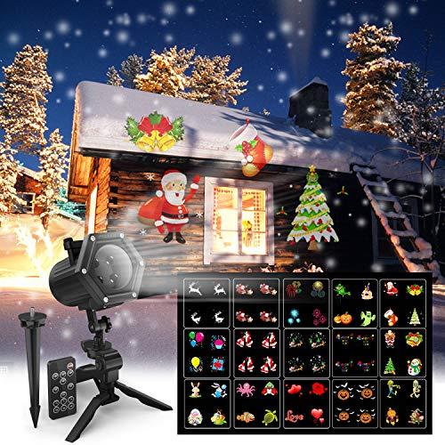 Luci Natalizie Con Proiettore.Proiettore Luci Natale Esterno Con 15 Diverse Diapositive Maxcio Decorazioni Luci Natale Con Un Telecomando Proiettore Luci Per Giardino Interno Ed
