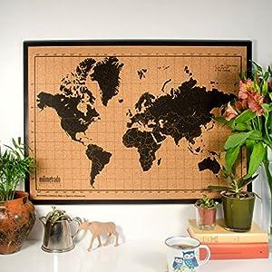 Bloc rado–Mapamundi tablón de corcho/Mapa Del Mundo Póster corcho con marco de madera de pino