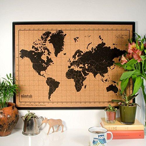 Milimetrado - Weltkarte Pinnwand aus Kork / Weltkarte Poster Kork Pinnwand mit Kiefernholz Rahmen - 50 x 70 cm - Schwarz