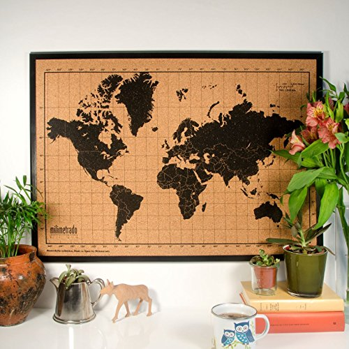 Milimetrado–Carte du monde Tableau en liège/carte du monde Poster Tableau en liège avec cadre en bois de pin–50x 70cm–Noir