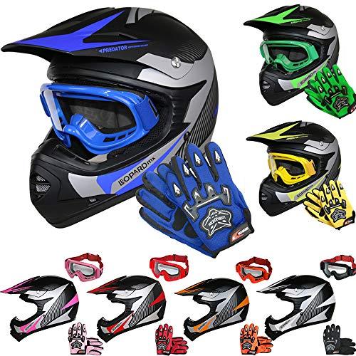 Leopard LEO-X19 Casco de Motocross para Niños Azul S (49-50cm) y Guantes S(5cm) y Gafas ECE Homologado