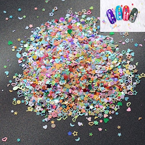 Igemy 5000 pcs nail art DIY mixtes Paillettes 3 mm Cœur Fleur étoile Paillettes Stickers
