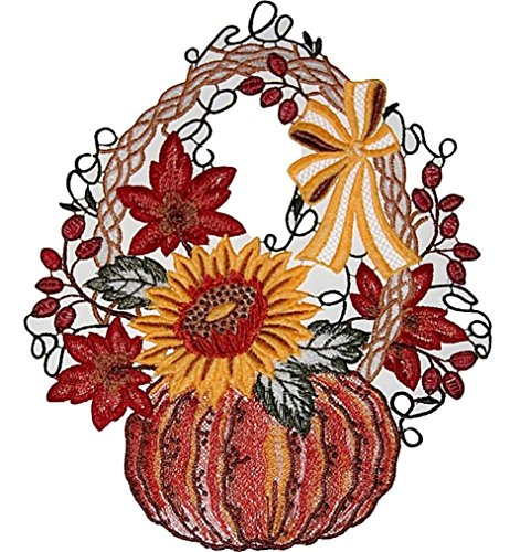 + Saugnapf Plauener Spitze ® Kürbis Korb Sonnenblume HERBST Spitzenbild Fensterschmuck ()