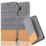 Cadorabo Hülle für Samsung Galaxy S4 Active - Hülle in HELL GRAU BRAUN – Handyhülle mit Standfunktion und Kartenfach im Stoff Design - Case Cover Schutzhülle Etui Tasche Book