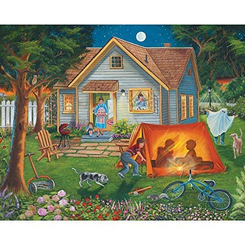 Bits and Pieces 300 Große Teile Puzzle für Erwachsene Hinterhof Camping Familie Fun House Puzzle by Artist Christine Carey 300 Pc Jigsaw (Große Puzzle-teile)