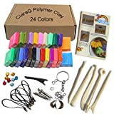 Polymer Clay CiaraQ 24 Colors Oven Bake DIY Colorful Clay Safe and Nontoxic Soft Moulding Craft Set, Best Gift for Children (600g)
