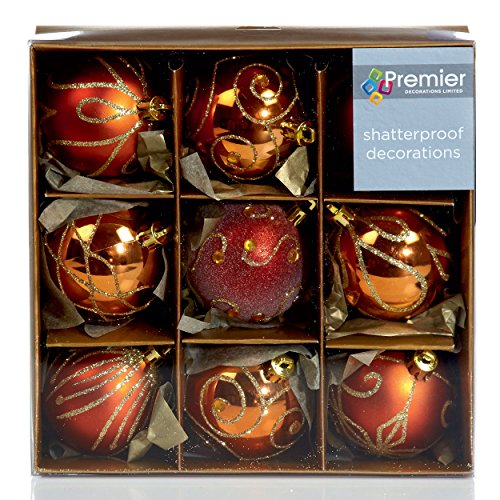Premier Decorations Set of Nine Copper Christmas Tree Baubles (6cm) by Premier Decorations